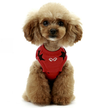 Puppy Angel Star Sleeveless Doggie T-shirts - Red