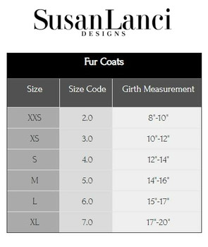 Susan Lanci Fur Coat Sizing Chart and Video