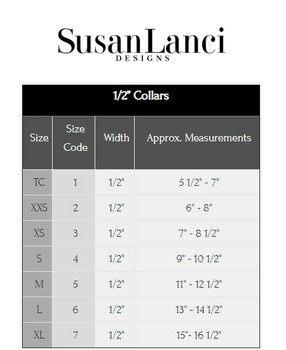 "Susan Lanci 1/2"" Width Collars Sizing Chart and Video"