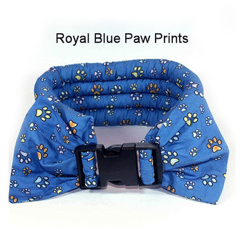 Too Cool Cooling Dog Collars -Royal Blue Paw Print