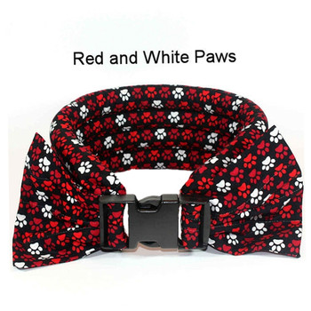 Too Cool Cooling Dog Collars - Red & White Paws on Black