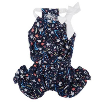 Floral Volum Sleeveless Summer Dog Jumpsuit - Navy