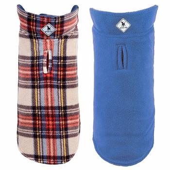 Fargo Fleece Pet Dog Jacket Coat - Tan Plaid II / Blue