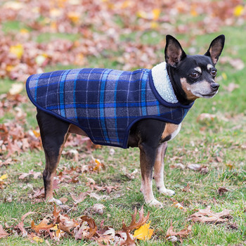Alpine Sherpa Lined Dog Coat - Blue/Gray Plaid