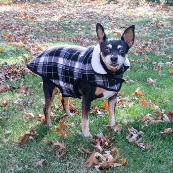 Alpine Sherpa Lined Dog Coat - White/Black Plaid