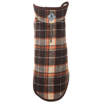 Alpine Sherpa Lined Dog Coat - Brown Plaid