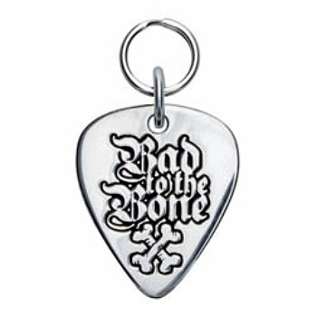 Bad to the Bone Engravable Sterling Silver Guitar Pick Dog ID Tag