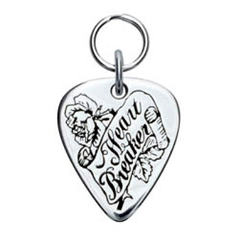 Heart Breaker Engravable Sterling Silver Guitar Pick Dog ID Tag