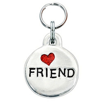 Pewter Engravable Pet ID Tag - Friend & Heart