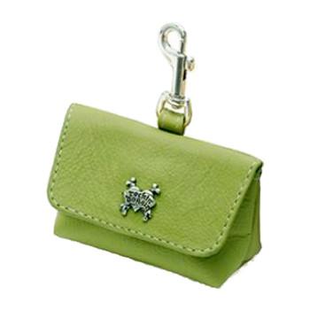Green Leather Leash Accessory Poop Bag Holder