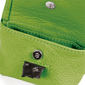 Green Leather Leash Accessory Poop Bag Holder