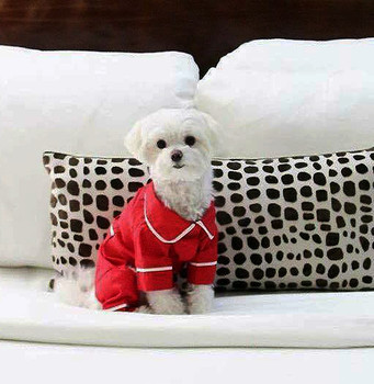 Red Poplin Cotton Dog Pajamas