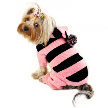 Pink Stripy Dog Bodysuit with Long Hoodie and Pompom