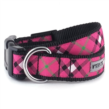 Bias Plaid Hot Pink Pet Dog & Cat Collar & Optional Lead Collection