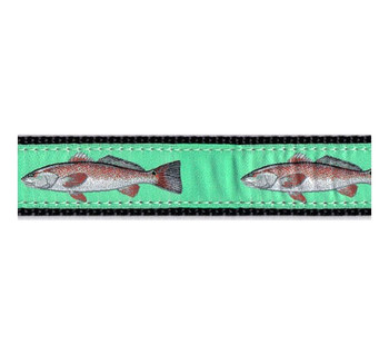 Red Fish 3/4 & 1.25 inch Dog Collar, Harness