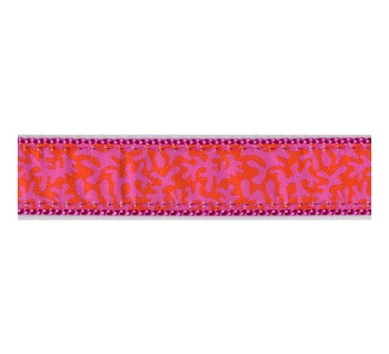 Dog Collar - Orange & Raspberry Coral -  3/4 & 1 1/4