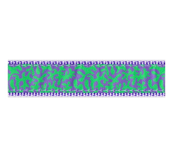 Dog Collar - Lilac & Green Coral -  3/4 & 1 1/4
