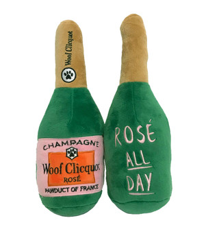 Woof Clicquot Rose' Champagne Bottle Plush Dog Toy