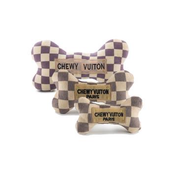 Chewy Vuiton Checker Bone Plush Dog Toys