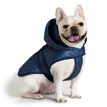 Quilted Nylon Puffer Dog Jacket - Blue - Size 10