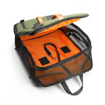 Olive & Orange Nylon Canvas Backpack Pet Carrier