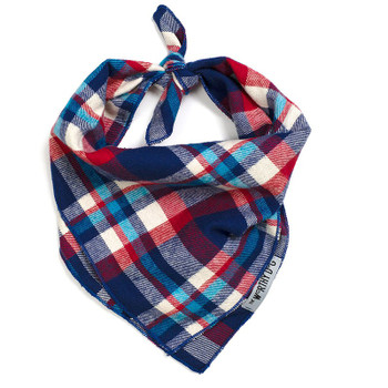 Navy/Red/Turq Plaid Dog Tie Bandana