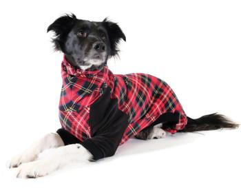 Pet Dog Onesie / Pajama - Red Tartan and Black