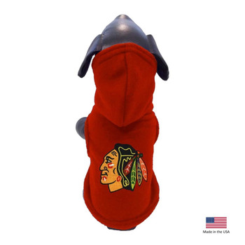 Chicago Blackhawks Polar Fleece Pet Hoodie - XS