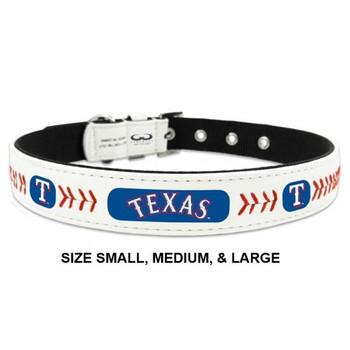 Texas Rangers Classic Leather Baseball Collar