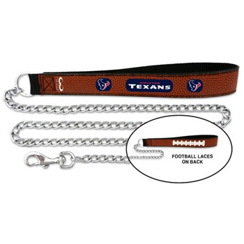 Houston Texans Football Leather and Chain Leash