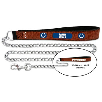 Indianapolis Colts Football Leather and Chain Leash
