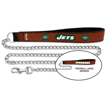 New York Jets Football Leather and Chain Leash