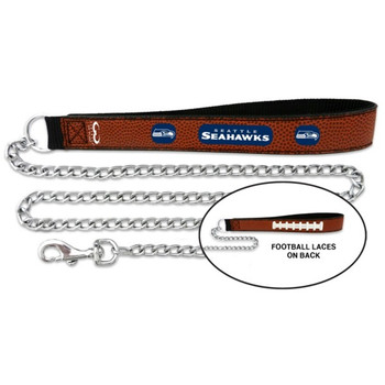 Seattle Seahawks Football Leather and Chain Leash