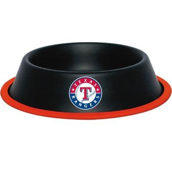 Texas Rangers Gloss Black Pet Bowl