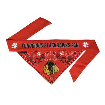 Chicago Blackhawks Pet Reversible Paisley Bandana