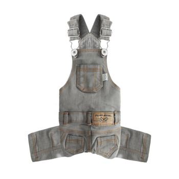 Puppy Angel Geolgine Daily Denim Overall Dog Pants - Lt Gray