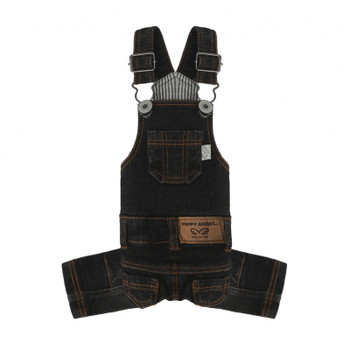 Puppy Angel Geolgine Daily Denim Overall Dog Pants - Dk Gray