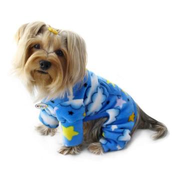 Stars and Clouds Fleece Pet Dog Pajamas & Optional Blanket