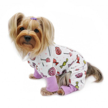 Ultra Soft Minky Sweet Candies Pet Dog Pajamas & Optional Blanket