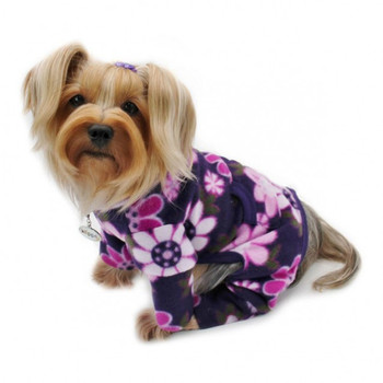 Midnight Garden Fleece Turtleneck Pet Dog Pajamas & Optional Blanket