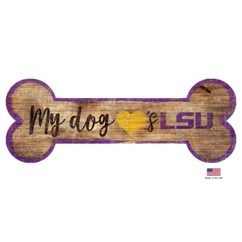 LSU Tigers Distressed Dog Bone Wooden Sign