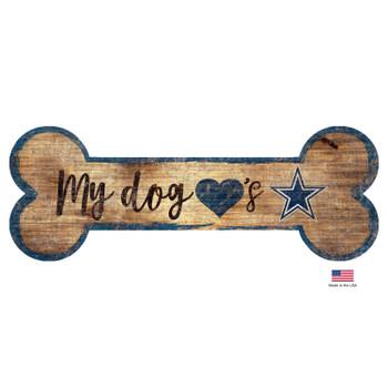 Dallas Cowboys Distressed Dog Bone Wooden Sign