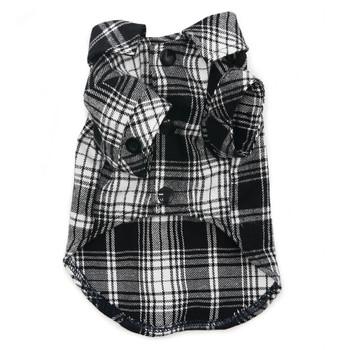 Flannel Button Down Dog Shirt - Black