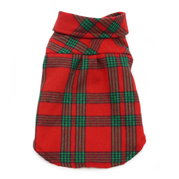 Flannel Button Down Dog Shirt - Red / Green