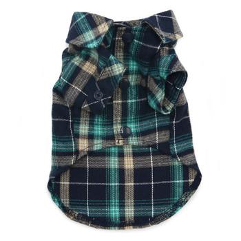 Flannel Button Down Dog Shirt - Blue