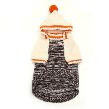Contrast Hoodie Dog Sweater - Beige