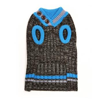 City V-Neck Dog Sweater - Blue