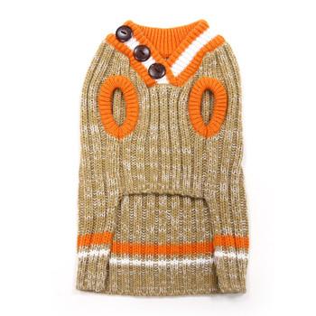City V-Neck Dog Sweater - Beige