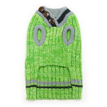 City V-Neck Dog Sweater - Green