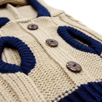 Tidy Cable Hoodie Dog Sweater - Camel